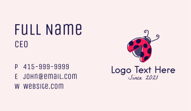 Lady Bug Drawing Business Card