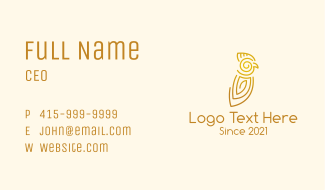 Tribal Parrot Outline Business Card