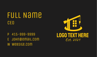 Construction Property Crane  Business Card