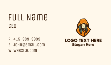 Hoodie Woman Clothing Business Card