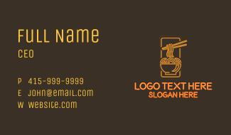 Orange Neon Noodles Bowl Business Card