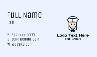 Cute Navy Sailor Business Card