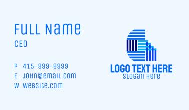 Blue Textile Letter G  Business Card