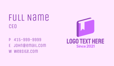 3d Purple Book Business Card