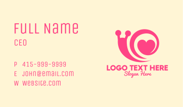 Pink Lovely Snail Business Card