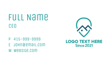 Blue Location Pin House Business Card