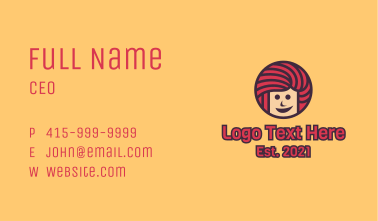 Pink Hair Smiling Girl  Business Card