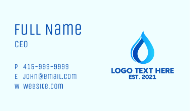 Blue Water Droplet  Business Card