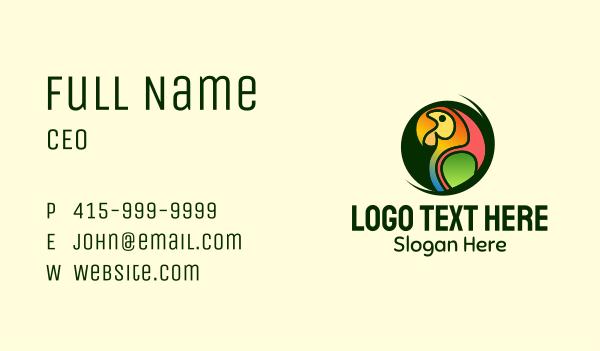 tropical bird - Tropical Colorful Parrot Business card horizontal design