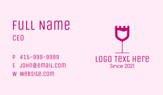 Castle Wine Glass Business Card