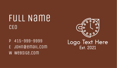 White Cup Clock  Business Card