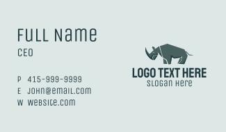 Wild Grey Rhinoceros Business Card