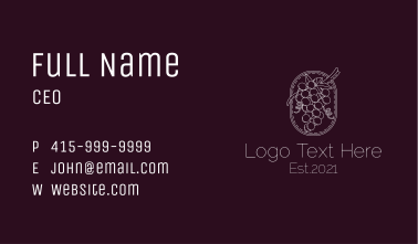 Minimalist Grapes Vineyard Business Card
