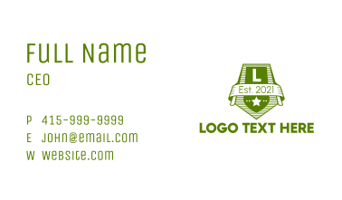 Green Military Letter Business Card
