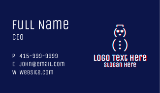 Glitchy Snowman Outline Business Card