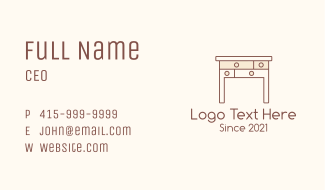 Wood Table Drawer  Business Card