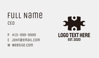 Wrench Letter H Business Card