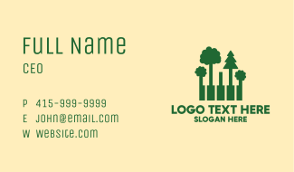 Forest Piano Keys Business Card