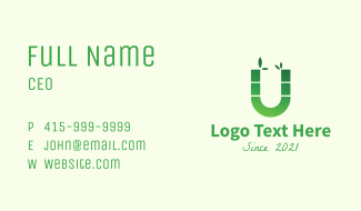 Green Bamboo Letter U Business Card