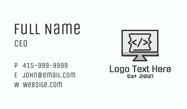 Code Computer Monitor Business Card