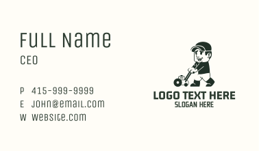 Lawn Mower Gardener Mascot Business Card