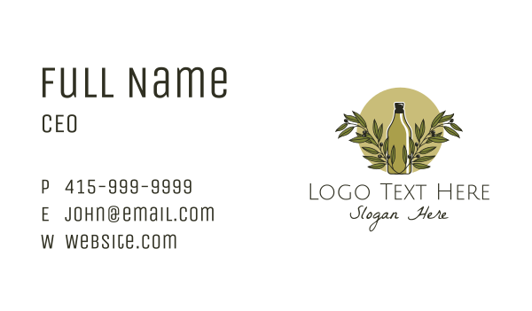 mediterranean - Olive Oil Bottle Business card horizontal design