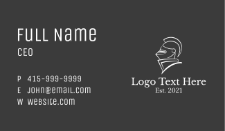 Royal Knight Line Art Business Card