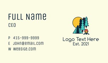 Night Forest Campsite Business Card
