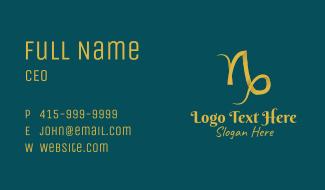 Gold Capricorn Horoscope Symbol Business Card