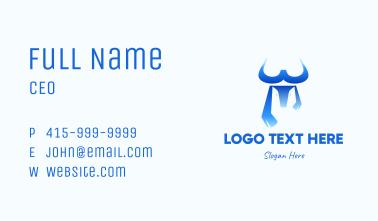 Blue Bull Letter W Business Card