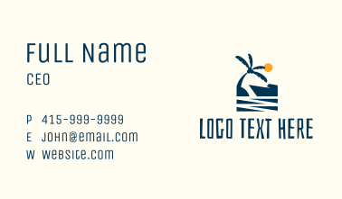 Afternoon Tropical Beach Scene Business Card