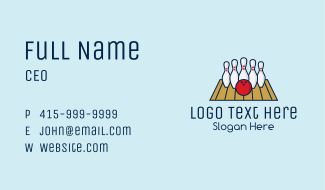 Modern Bowling Game Business Card