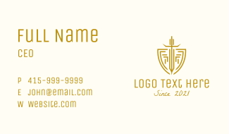 Warrior Sword & Shield Business Card