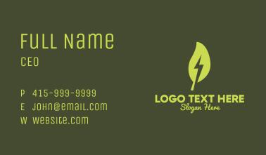 Leaf Lightning Bolt Business Card