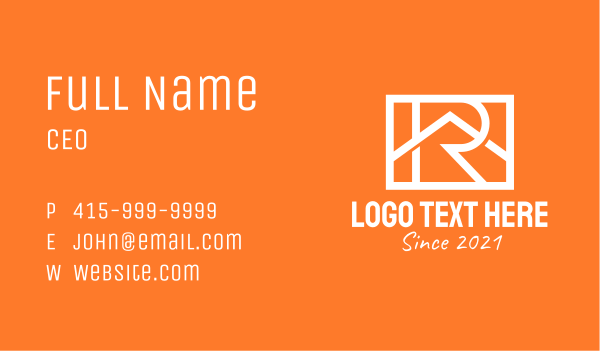 leasing - White Letter R Home  Business card horizontal design