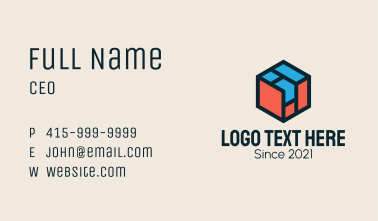 Construction Isometric Cube  Business Card