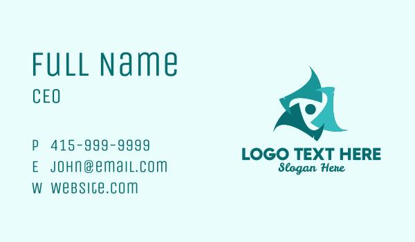 regatta - Modern Blue Propeller  Business card horizontal design