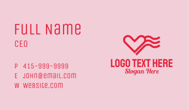 Red Heart Wave  Business Card