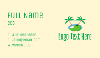 Tropical Coconut Fruit  Business Card
