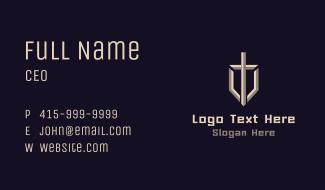 Letter T Sword Shield Business Card