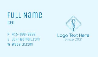 Blue Outline Syringe Business Card