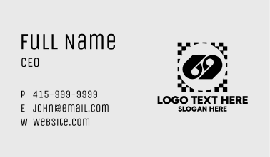 Racing Checkerboard 69 Business Card