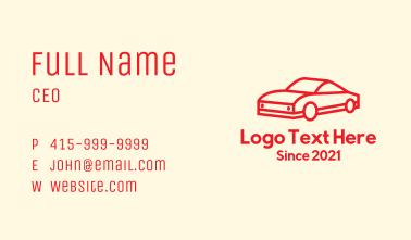 Red Minimalist Sports Car Business Card