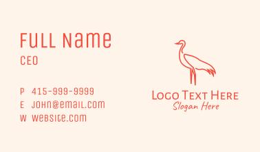 Orange Seagull Outline Business Card