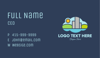 Frog Cloud Cityscape Business Card