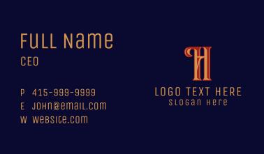 Retro Fashion Letter H  Business Card