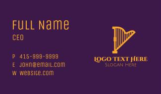 Golden Musical Harp Business Card