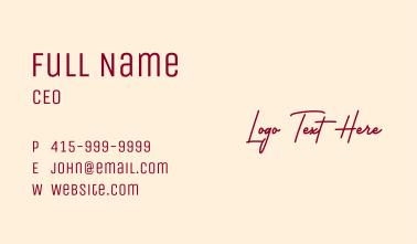 Simple Script Wordmark Business Card