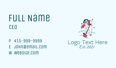 Snow Plowing Mascot Business Card