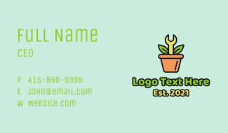 Wrench Pot Plant Business Card